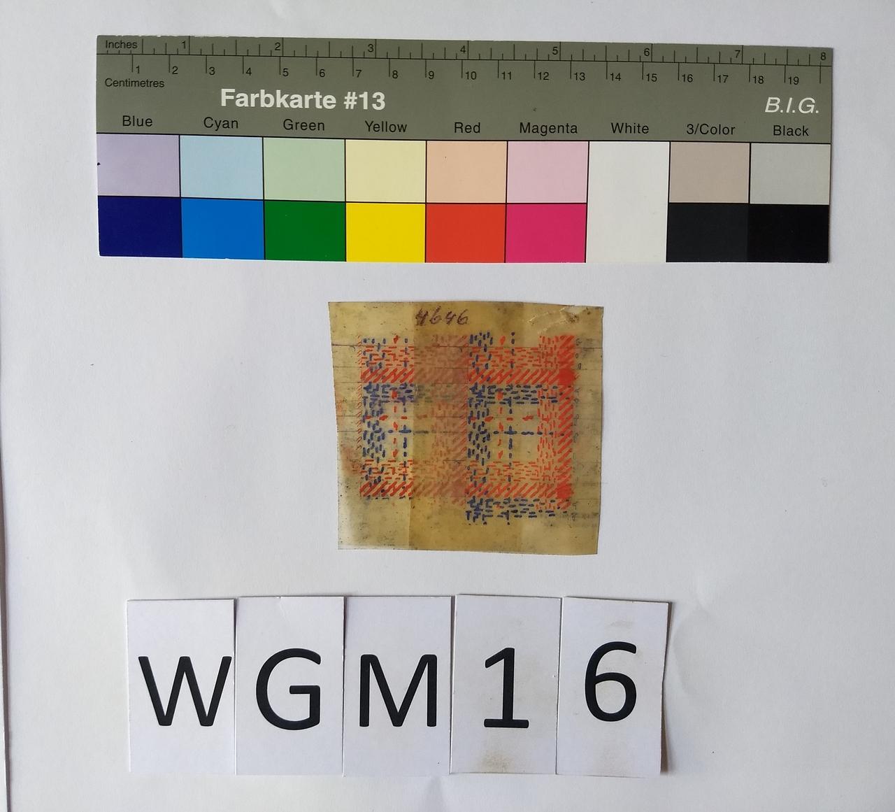 Musterabdruck Karo Rot Blau