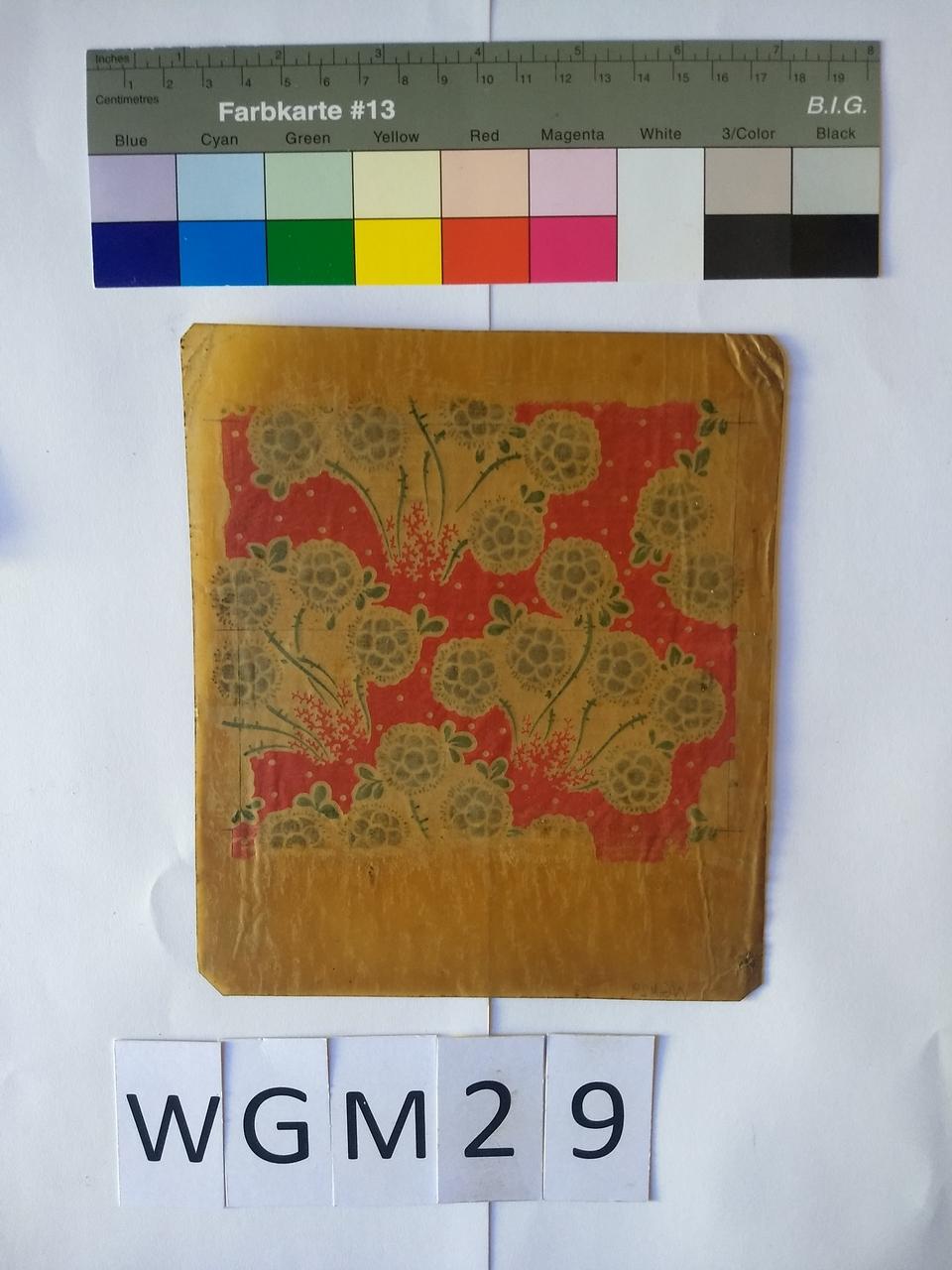 Musterabdruck Blüten mit rotem Hintergrund