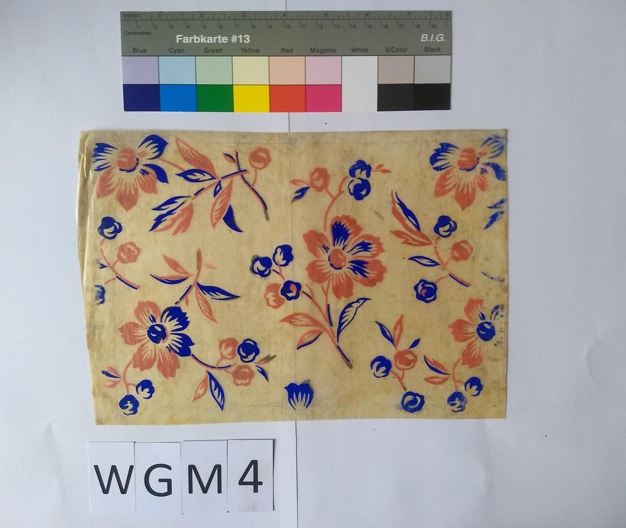 Musterabdruck Blüten Rot und Blau