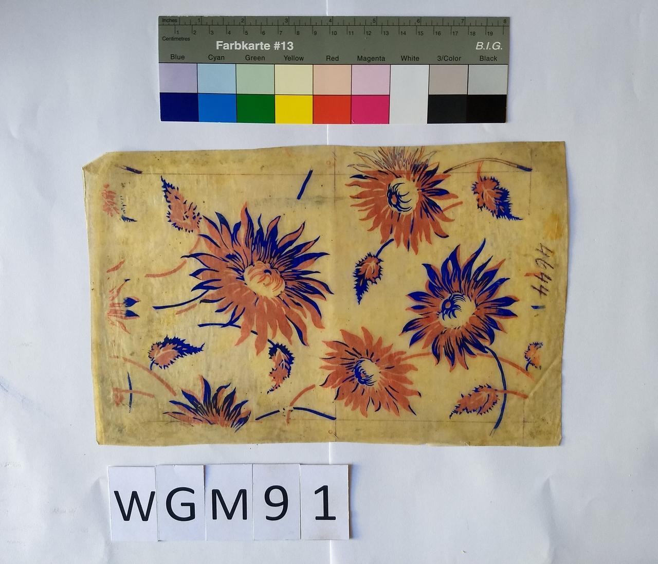 Musterabdruck Blumen Blau und Rot