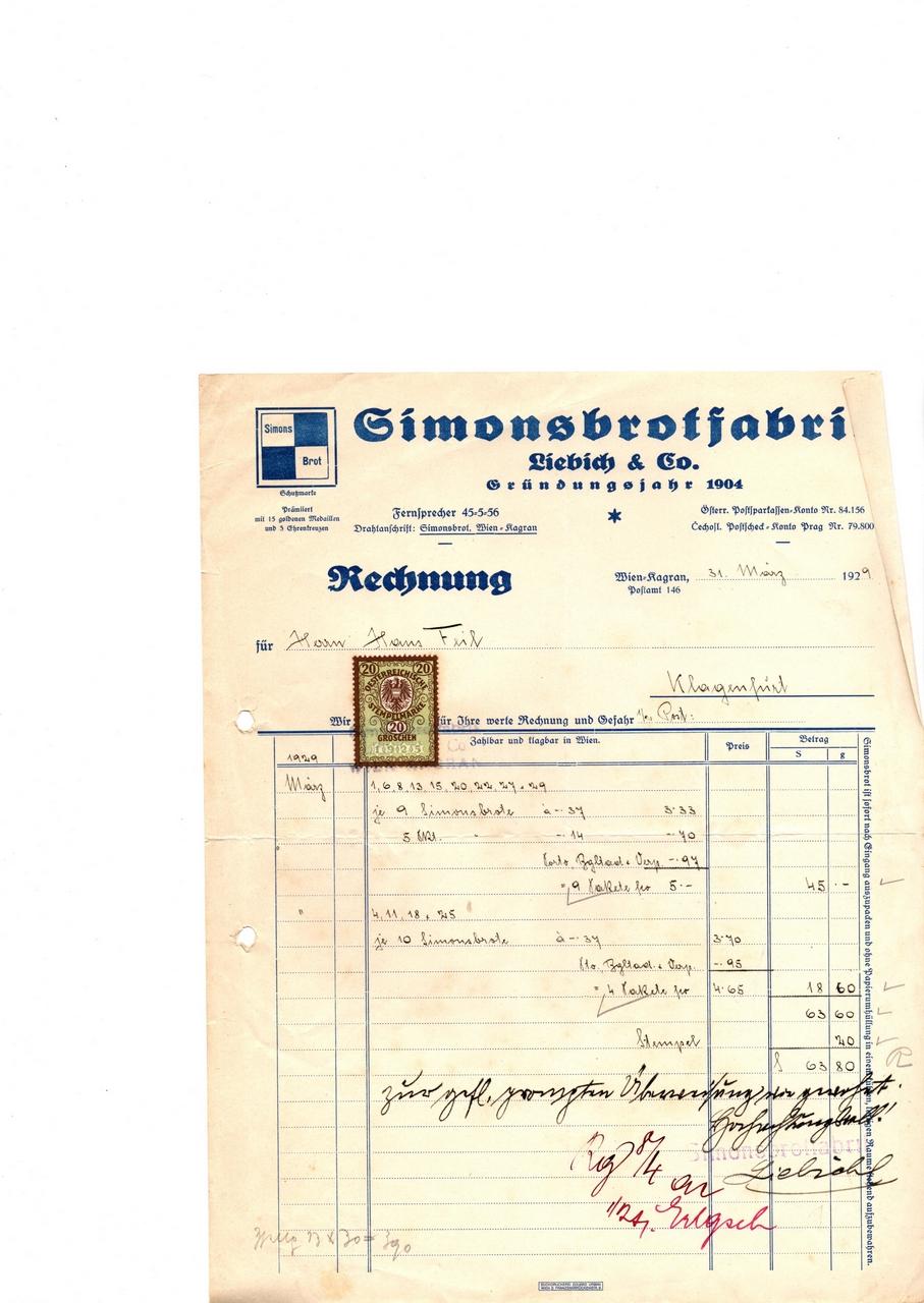 Rechnung Simonsbrotfabrik