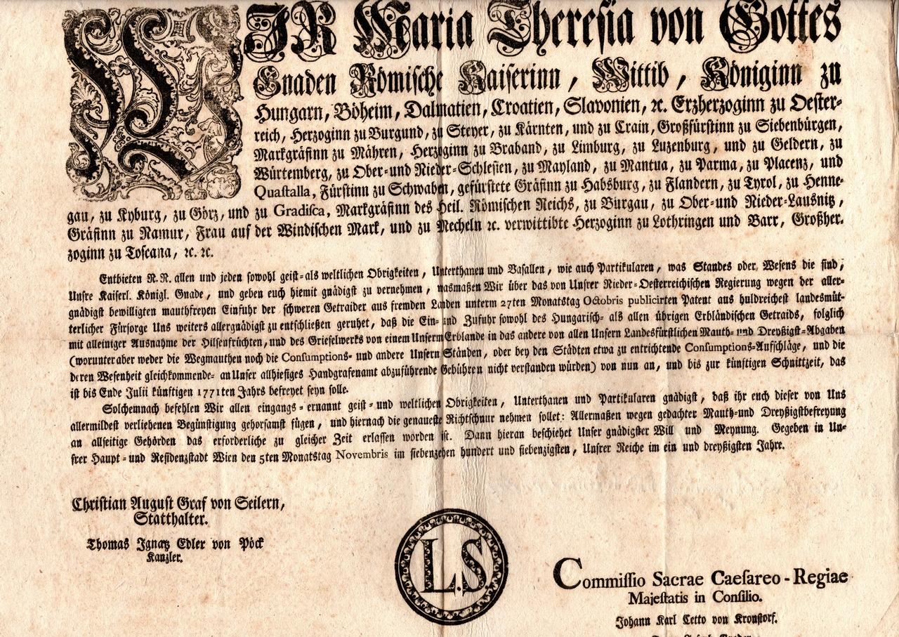 Erlaß anno 1770
