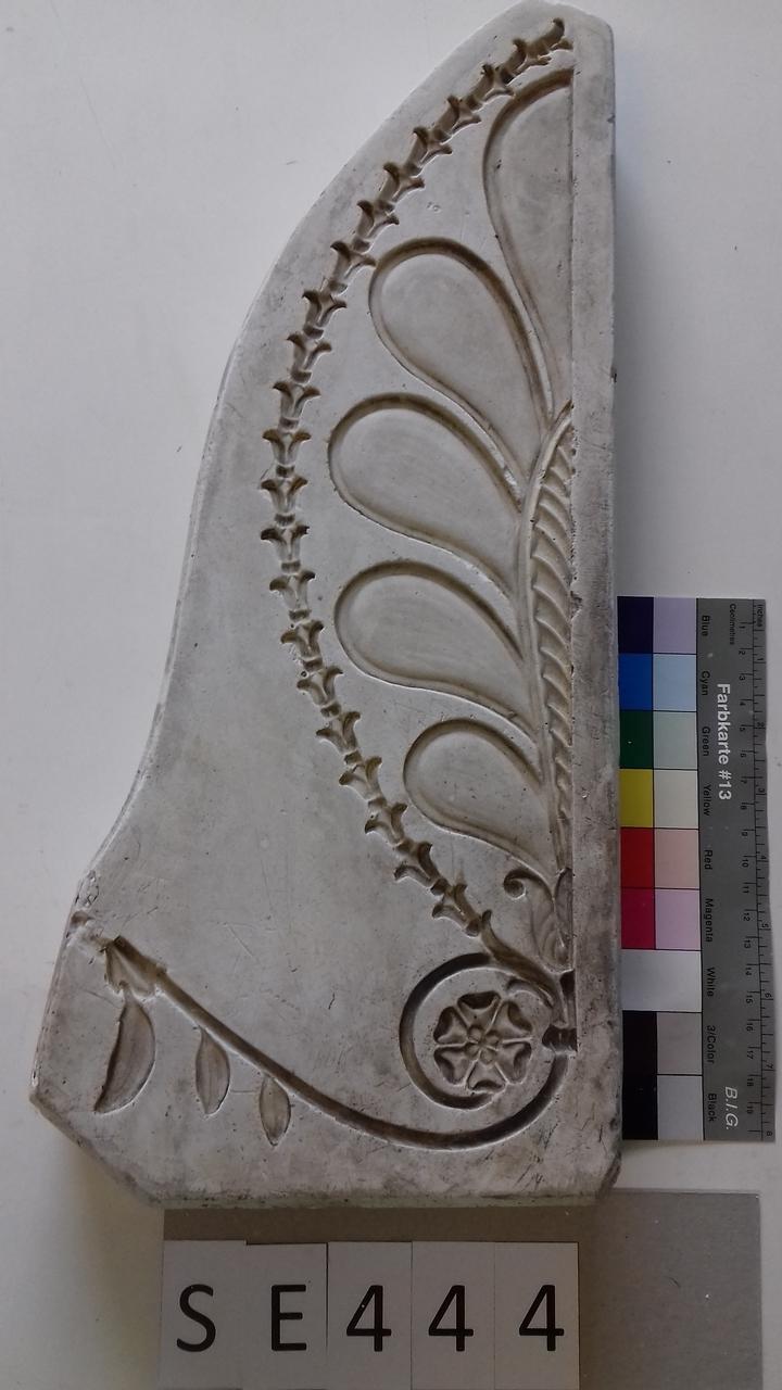 Negativform Detail halbe Blume und Blütenreihe