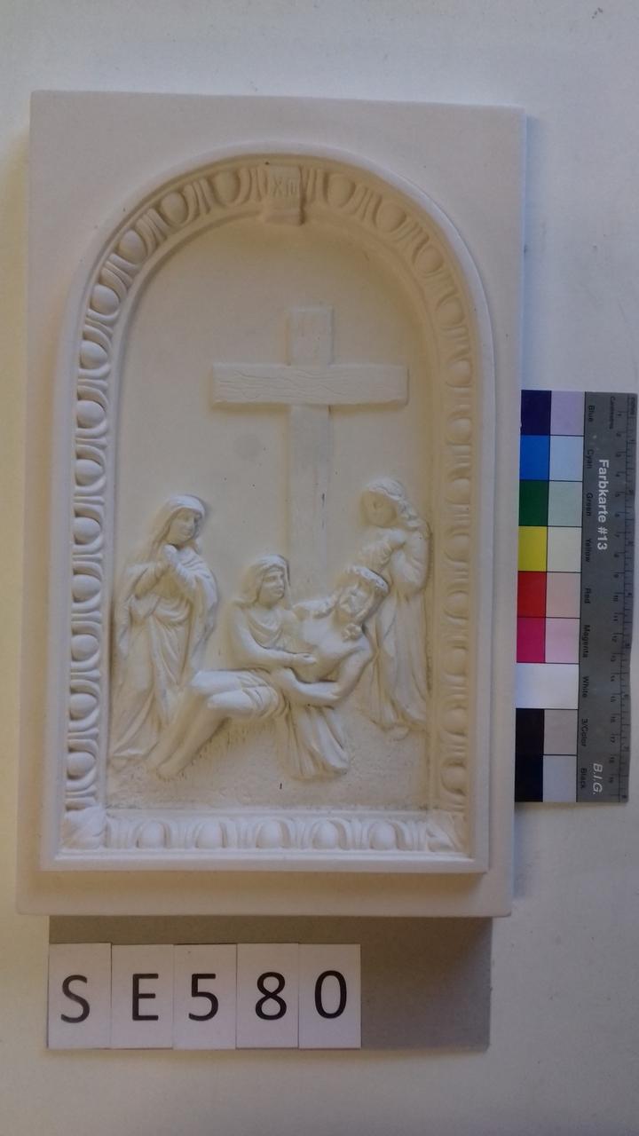 Kachel ledige Kachel Pieta mit Kreuz