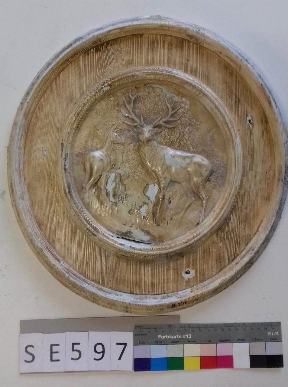 Mutterform ledige Kachel mit Hirsch und Hirschkuh