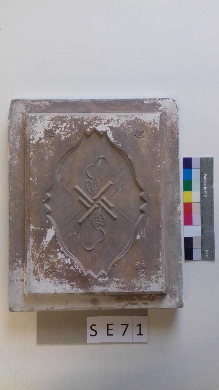 Mutterform ledige Kachel mit quadratischen Motiven und 2 Blätterpaaren